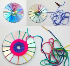 Handicrafts with old CDs - 7 creative handicraft projects with instructions # traumfängerbas . - Handicrafts with old CDs – 7 creative handicraft projects with instructions # dream catcher craft - Crafts With Cds, Old Cd Crafts, Yarn Crafts, Diy And Crafts, Arts And Crafts, Art Cd, Diy For Kids, Crafts For Kids, Diy Y Manualidades