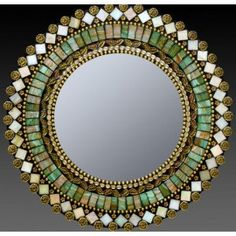 Jade Taupe Mosaic Mirror by Zetamari Mosaic Artworks. A dazzling mix of richly hued and iridescent vitreous tiles and glass beads. 2013 Buyers Market of American Craft. Mosaic Artwork, Mirror Mosaic, Mirror Art, Mosaic Tiles, Mosaics, Mosaic Wall, Stone Mosaic, Mosaic Glass, Glass Art