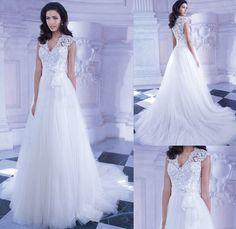 Graceful V Neck Short Sleeves Wedding DressTrain Bridal Gown Zipper Appliques White Wedding Dress,Tulle Wedding Dress