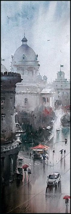 Dusan Djukaric     ·  View from Nikola Pasic Square, watercolor, 75x35 cm