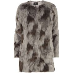 Dorothy Perkins Grey Camo Collarless Faux Fur coat ($68) ❤ liked on Polyvore featuring outerwear, coats, grey, collarless coat, faux fur coats, gray coat, imitation fur coats and camouflage coat