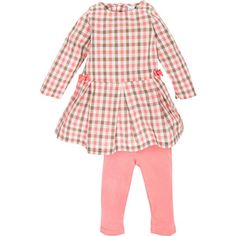 Pink Plaid Pleated Dress w/Leggings at Magnificent Baby in in PINK PLAID
