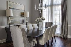 Perfect dining room in just about every way. grey dining room