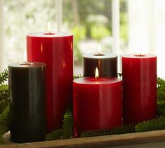 Holiday Pillar Candles #potterybarn