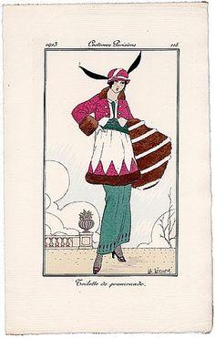 HONORE 1913 Journal des Dames et des Modes Costumes Parisiens Pochoir N°118