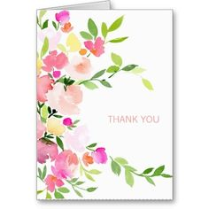 Floral Watercolor Thank You Card