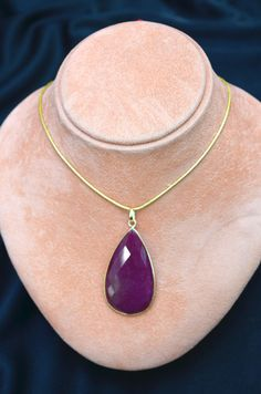Tear-shaped Faceted Ruby Pendant Necklace