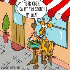 @DieViecher , Cartoon , Comic , Giraffe , Giraffen , www.die-viecher.de , Oberhausen , NRW  , Deutschland , Cartoonist, Eva Böhm, Redewendung, Sprichworte, Wortspiele, schwarzer Humor, Wortwitz, wortwörtlich nehmen, über Worte stolpern, Animation Cartoon, lustige Tiere, typisch Deutsch, Storch im Salat, Storch, Storchennest, Salat, vegan, Salat Rezept