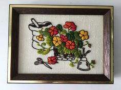Vintage Garden Cutting Flowers Embroidery Framed Art by Pickness