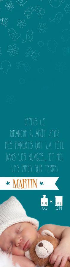 Faire-Parts Naissance Marque-Page #roseoubleu.fr http://roseoubleu.fr