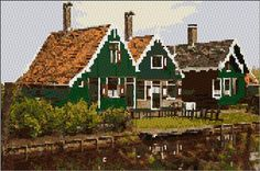 Traditional Dutch Houses....free cross stitch pattern