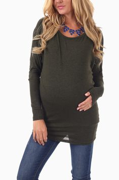 Olive-Green-Dolman-Sleeve-Maternity-Top #maternity #fashion