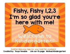 These cute Goldfish Welcome Tags are a great way to welcome your new, incoming students to your classroom! Just print, and attach to a small bag of Gold Fish Crackers! Easy and fun! Rainbow Fish Bulletin Board, Fish Bulletin Boards, Fish Activities, Teaching Activities, Teaching Ideas, Welcome To Class, Fish Crackers, Kindergarten Blogs, First Day Of School Activities