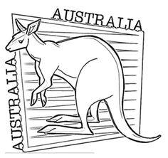 kangaroo happy australia day coloring page