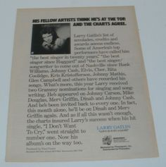Larry Gatlin Music Ad Hit Album Love Is Just A Game Full Page Advert