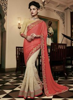 Tomato Red White Embroidery Work Chiffon Half Designer Sarees http://www.angelnx.com/Sarees/Party-Wear-Sarees