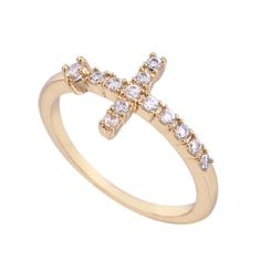 Fashion 18K Gold Plated High Quality Cross Shape Copper Finger Ring Inlay White Zircon Three Sizes