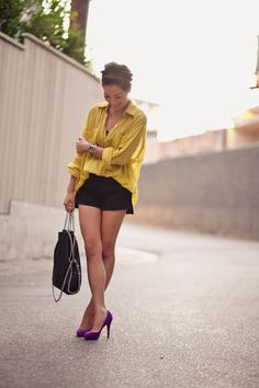 Love these colors together- mustard and bright purple.