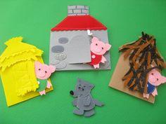 Felt toys - The Three Little Pigs Felt Finger Puppet Toys PDF Pattern – Felt toys Felt Board Stories, Felt Stories, Flannel Board Stories, Flannel Boards, Felt Crafts, Crafts For Kids, Baby Quiet Book, Puppet Toys, Felt Finger Puppets