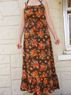 Vintage 70s Flower Power Maxi Dress by SycamoreVintage on Etsy
