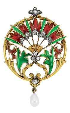 Art Nouveau Gold, Silver, Plique-a-Jour Enamel, Diamond and Pearl Brooch:
