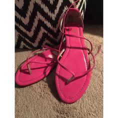 Pink Strapped Flip-Flops Hot Pink ; Straps ; Worn Once Worthington Shoes Sandals