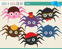 Spiders Clip Art - color and outlines $