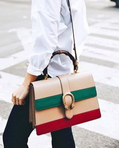 gucci dionysus bamboo medium leather shoulder bag in orange, green, red; Wish list and beautiful styles from michellemadsen for designer shoes, bags, and cloth! Leather Backpack, Leather Bag, Buy Bags, One Bag, Printed Bags, Clutch Purse, Purses And Handbags, Fashion Bags, Leather Shoulder Bag