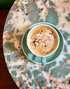 #Montreal #coffeeshop #Lepetitdep #turquoise #design Of Montreal, Coffee Shop, Latte, Good Things, Turquoise, Tableware, Food, Design, Coffee Shops