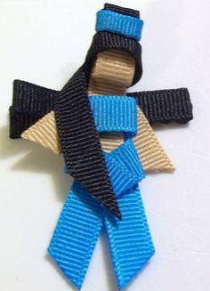 Jasmine princess blue ribbon art sculpture clippie by lilyblack15, $4.00