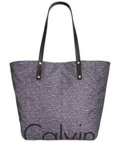 Calvin Klein Large Nylon Logo Tote with Pouch - Gray