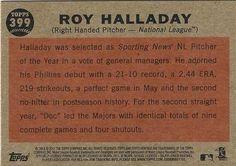 2011 Topps Heritage #399 Roy Halladay Back