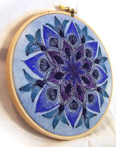 Blue mandala. Free motion machine embroidery and watercolor on canvas in a 6 in a embroidery hoop. By Rebecca J. Greenwood, Painted Embroidery.
