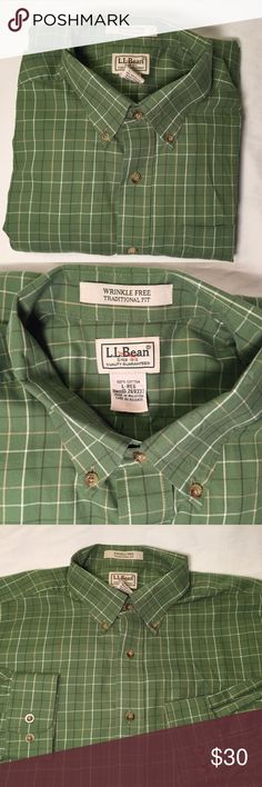 Green Button Down Long Sleeve by LL Bean Great button down traditional fit long sleeve shirt by L.L Bean.  Features wrinkle free technology and front pocket.  This item is in excellent condition.  Size Large-Reg          All products* sold by super22saver55 are pre-washed using Tide Pods, Downy Unstoppables, and Oxygen Orange for your convenience.  *Not including NWT products, products made of wool or sports wear.  *Sports wear products are washed with detergent and vinegar or baking soda…