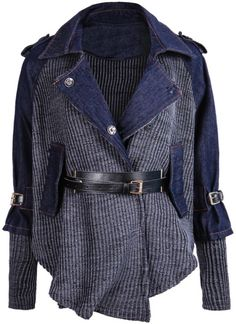 To find out about the Blue Contrast Denim Lapel Knit Sweater at SHEIN, part of our latest Sweaters ready to shop online today! Denim Fashion, Fashion Outfits, Diy Clothes, Clothes For Women, Mode Mantel, Diy Vetement, Mode Jeans, Moda Boho, Refashion