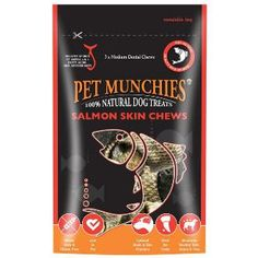 Pet Munchies Salmon Skin Chews 90g Dog Treats. Pet munchies Salmon Skin Chews are made from 100% Natural Quality Wild Salmon skins, this is the ultimate super healthy chew for dogs. Suitable for dogs of all sizes. Durable texture is designed to encourage chewing to help remove plaque. Salmon is a rich source of vitamins and minerals including Omega 3 & 6 and selenium.