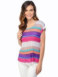 Splendid Official Store, SPLD-7138 Watercolor Stripe Short Sleeve Top, splendid.com