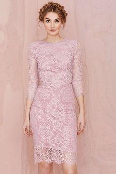 LUCLUC Three Buckle Slim Lace Dress