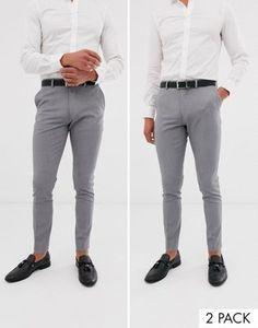 ASOS 2 pack super skinny pants in gray SAVE - Men Dress Pants - Ideas of Men Dress Pants Chinos Men Outfit, Grey Pants Outfit, Mens Dress Outfits, Formal Men Outfit, Skinny Dress Pants, Stylish Mens Outfits, Mens Dress Pants, Men Pants, Men Dress