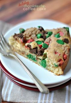 Chocolate Chip Coffee Cake recipe with Cinnamon swirl @Shugary Sweets