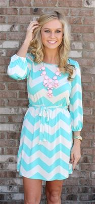Something about this mint chevron dress just makes me smile