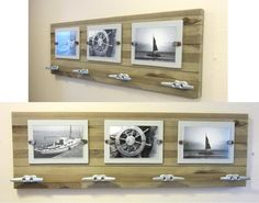 Reclaimed Cedar Nautical Beach Cottage Coat hat towel rack (4) Boat Cleat hangers (3) 4x6 Picture frame. $59.95, via Etsy.