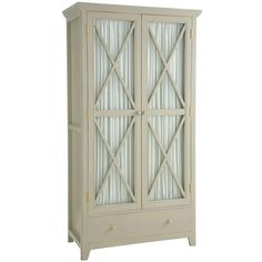 Country style cupboard with gathered cotton curtains on the inside of the doors (which can easily be replaced with the fabric of your choice). An internal shelf, hanging rail and roomy drawer offer generous storage space.
