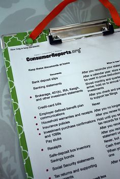 Consumer Report: How Long to Keep Documents