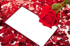 Red Roses and Hearts Transparent PNG Photo Frame