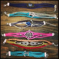 Custom Choice Colors and Charm Suede Multistrand Bracelet, Adjustable to Fit Any Wrist Size