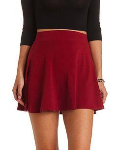 High-Waisted Cotton Skater Skirt: Charlotte Russe