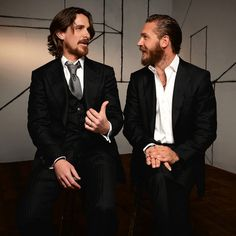 bohemea:    Christian Bale & Tom Hardy    Beautiful bearded men. I have this photo but they look so hot I'm pinning it again.