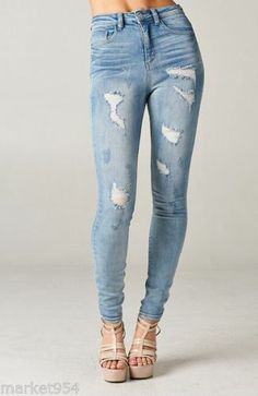 Distressed Skinny Jeans Light Wash Stretch Ripped Denim High Rise Waist Destroye | eBay Ripped Denim, Distressed Skinny Jeans, Denim Jeans, Trendy Jeans, High Rise Jeans, Trendy Fashion, High Waist, Casual, Pants
