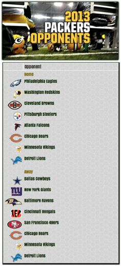 green bay packers 2013 opponents